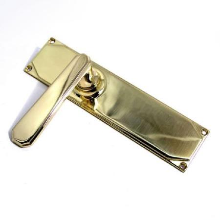Aston Door Handles Art Deco Long Plate Polished Brass Unlacquered