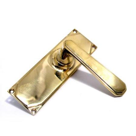 Aston Door Latch Handles Art Deco Polished Brass Unlacquered