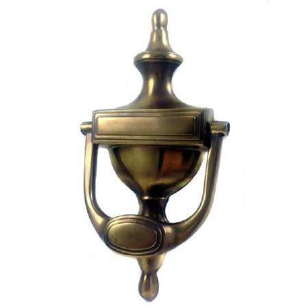 Aston Stepped Urn Door Knocker Antique Brass Unlacquered