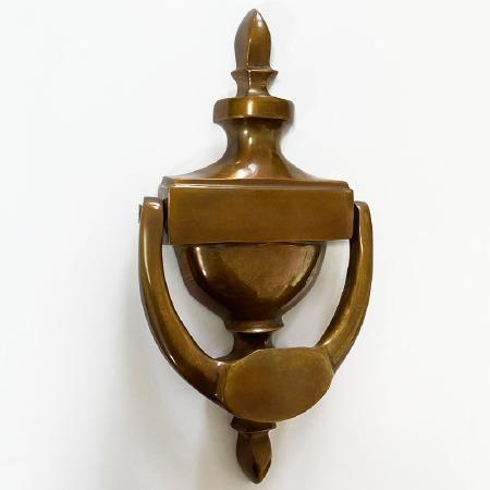 Aston Adam Door Knocker Polished Solid Bronze Antiqued