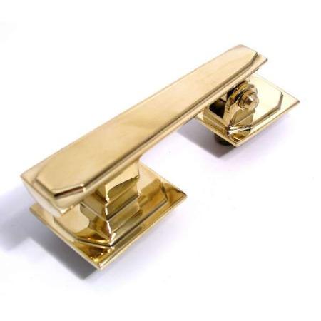 Aston Door Knocker Art Deco Polished Brass Unlacquered