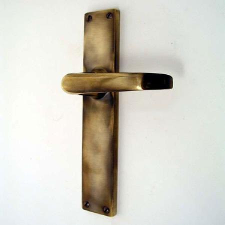 Door Handles Long Plate Antique Brass Unlacquered
