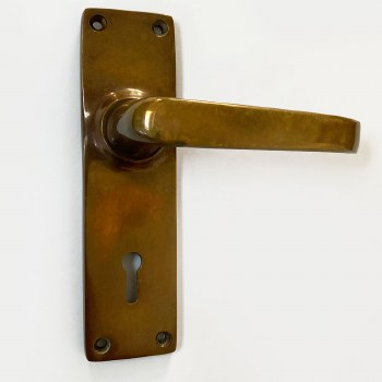 Aston Victorian Plain Door Handles Lock Plate Polished Solid Bronze Antiqued