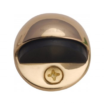Heritage Oval Floor Mounted Door Stop V1080 Polished Brass