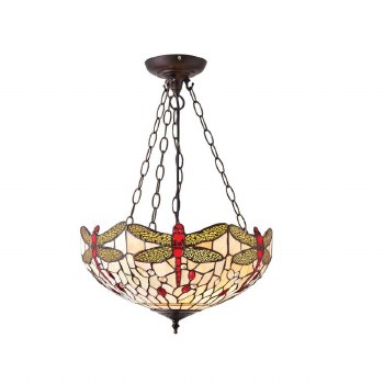 Interiors 1900 Dragonfly Beige Tiffany Medium Inverted Pendan 70759