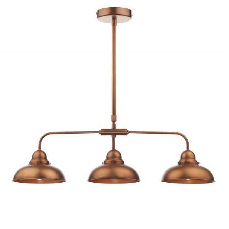Dynamo Bar Triple Light Pendant Antique Copper