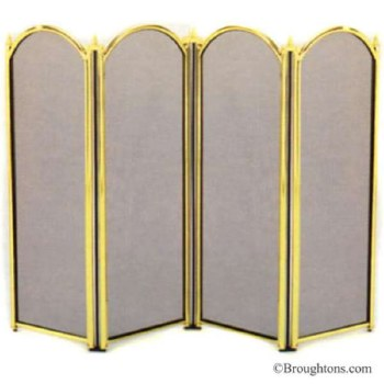 Dynasty Folding Fire Screen Brass