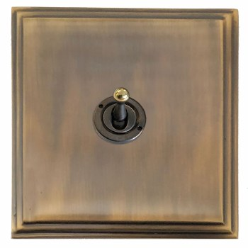 Edwardian Dolly Switch 1 Gang Antique Brass Lacquered
