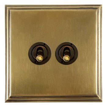 Edwardian Dolly Switch 2 Gang Antique Satin Brass