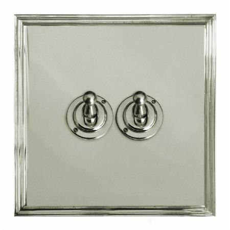 Edwardian Dolly Switch 2 Gang Polished Nickel