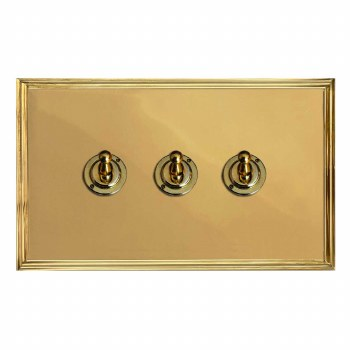 Edwardian Dolly Switch 3 Gang Polished Brass Unlacquered