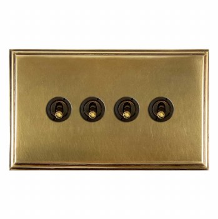 Edwardian Dolly Switch 4 Gang Antique Satin Brass