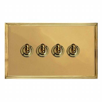Edwardian Dolly Switch 4 Gang Polished Brass Lacquered