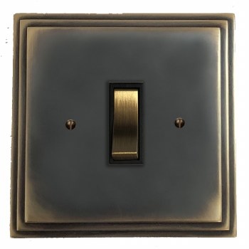 Edwardian Rocker Light Switch 1 Gang Dark Antique Relief
