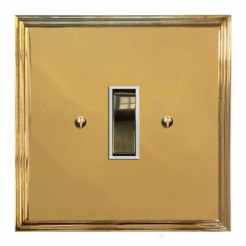 Edwardian Rocker Light Switch 1 Gang Polished Brass Lacquered & White Trim