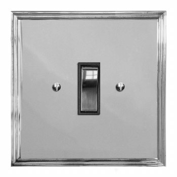 Edwardian Rocker Light Switch 1 Gang Polished Chrome & Black Trim