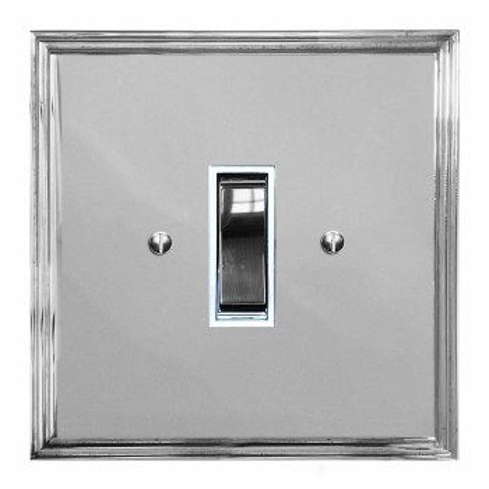 Edwardian Rocker Light Switch 1 Gang Polished Chrome & White Trim