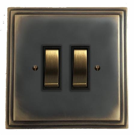 Edwardian Rocker Light Switch 2 Gang Dark Antique Relief