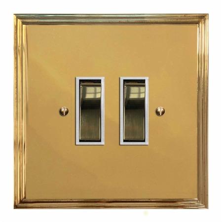 Edwardian Rocker Light Switch 2 Gang Polished Brass Lacquered & White Trim