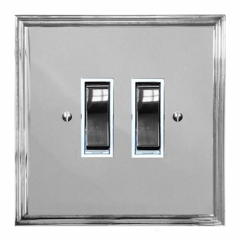 Edwardian Rocker Light Switch 2 Gang Polished Chrome & White Trim