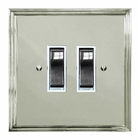 Edwardian Rocker Light Switch 2 Gang Polished Nickel