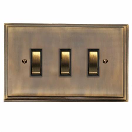 Edwardian Rocker Light Switch 3 Gang Antique Brass Lacquered