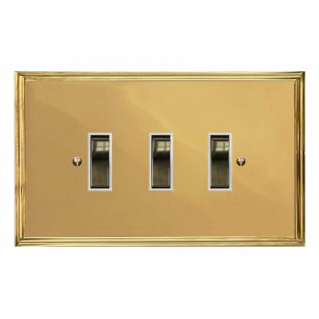 Edwardian Rocker Light Switch 3 Gang Polished Brass Lacquered & White Trim