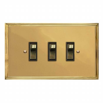 Edwardian Rocker Light Switch 3 Gang Polished Brass Unlacquered
