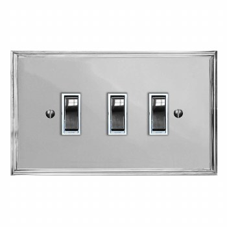 Edwardian Rocker Light Switch 3 Gang Polished Chrome & White Trim