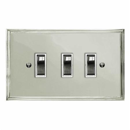Edwardian Rocker Light Switch 3 Gang Polished Nickel