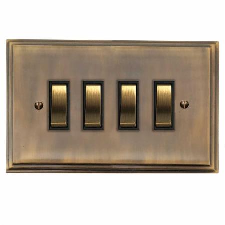 Edwardian Rocker Light Switch 4 Gang Antique Brass Lacquered