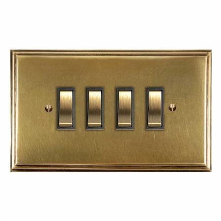 Edwardian Rocker Light Switch 4 Gang Antique Satin Brass
