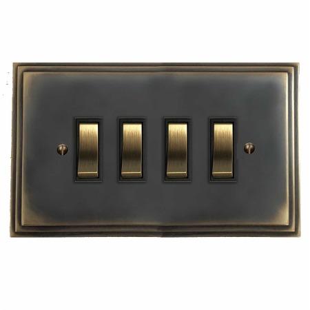 Edwardian Rocker Light Switch 4 Gang Dark Antique Relief