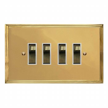 Edwardian Rocker Light Switch 4 Gang Polished Brass Lacquered & White Trim