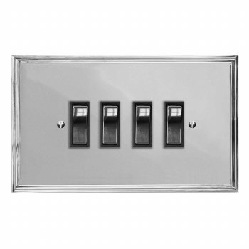 Edwardian Rocker Light Switch 4 Gang Polished Chrome & Black Trim