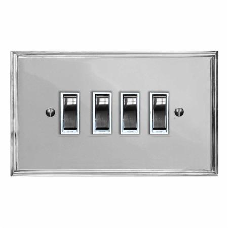 Edwardian Rocker Light Switch 4 Gang Polished Chrome & White Trim