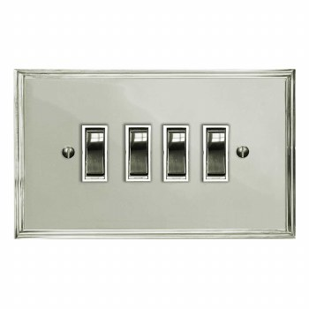 Edwardian Rocker Light Switch 4 Gang Polished Nickel