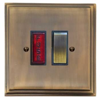 Edwardian Switched Fused Spur Illuminated Antique Brass Lacquered