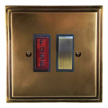 Edwardian Switched Fused Spur Illuminated Hand Aged Brass