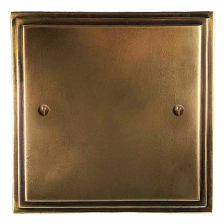 Edwardian Single Blank Plate Hand Aged Brass