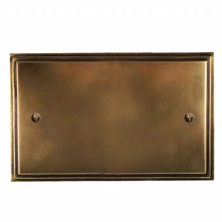 Edwardian Double Blank Plate Hand Aged Brass