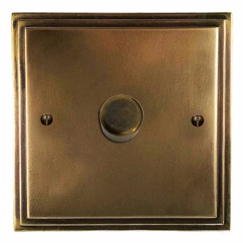 Edwardian Dimmer Switch 1 Gang Hand Aged Brass