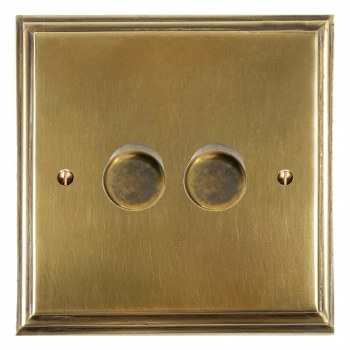 Edwardian Dimmer Switch 2 Gang Antique Satin Brass
