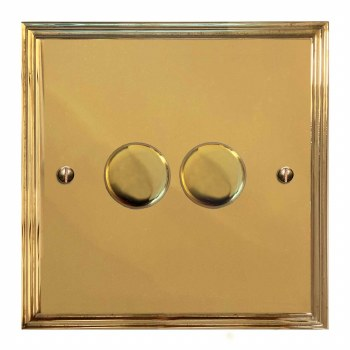 Edwardian Dimmer Switch 2 Gang Polished Brass Lacquered