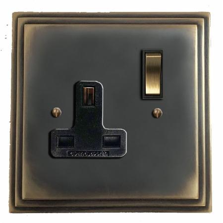Edwardian Switched Socket 1 Gang Dark Antique Relief