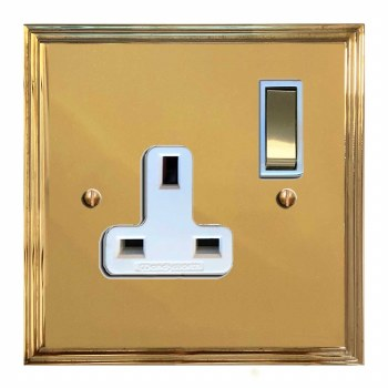 Edwardian Switched Socket 1 Gang Polished Brass Lacquered & White Trim