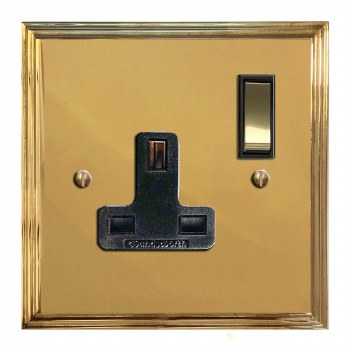 Edwardian Switched Socket 1 Gang Polished Brass Lacquered & Black Trim