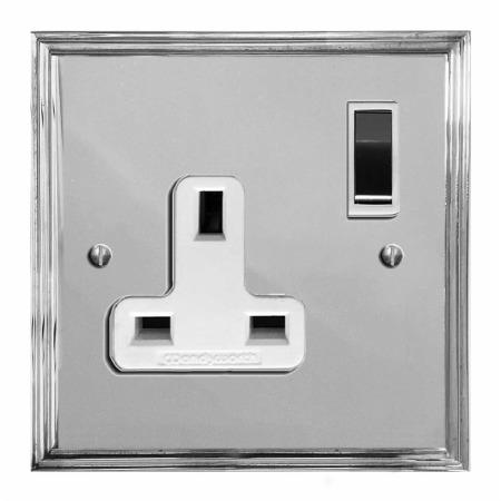 Edwardian Switched Socket 1 Gang Polished Chrome & White Trim
