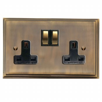 Edwardian Switched Socket 2 Gang Antique Brass Lacquered