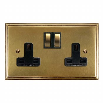 Edwardian Switched Socket 2 Gang Antique Satin Brass